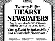 English: Ad for Hearst papers 1920s William Randolph Hearst.
