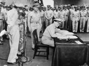 English: AWM caption: Tokyo Bay -- Surrender of Japanese aboard USS Missouri. Admiral Chester Nimitz, representing the United States, signs the instrument of surrender.
