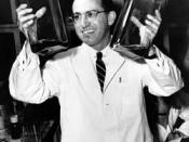 English: Jonas Salk at the University of Pittsburgh where he developed the first polio vaccine.