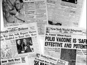 Photo of newspaper headlines about polio vaccine tests