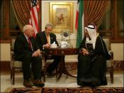 English: Vice President Dick Cheney meets with Kuwaiti Prime Minister Sheikh Sabah Al-Ahmed Al-Jaber Al Sabah in Kuwait City, January 17, 2006. The Vice President delivered condolences to the Al Sabah family following the death of Emir Sheikh Jabir al-Ahm