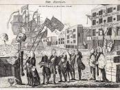 English: The caption reads: The Repeal, or the Funeral Procession, of Miss America Stamp. Repeal of the Stamp Act The coffin is carried by George Grenville, who is followed by Bute, the Duke of Bedford, Temple, Halifax, Sandwich, and two bishops.