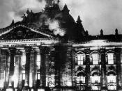 Firemen work on the burning Reichstag