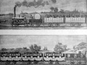 English: The first passenger carriage in Europe, 1830, George Stephenson´s steam locomotive, Liverpool and Manchester Railway Magyar: Az első személyvonat Európában, 1830, George Stephenson mozdonyával, Liverpool és Manchester között. Français : Le premie