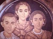 A group portrait of a mother, son and daughter on glass (c. 250 AD), once thought to be the family of Valentinian III.