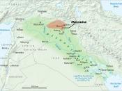 Deutsch: Verbreitungsgebiet der Hassuna-Kultur in Mesopotamien