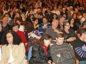 Batsheva Dance Company theater crowd in Tel Aviv, Israel.