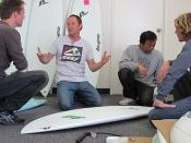 Byrne Surfboard Shaper Michael Baron at the Hydroflex Factory