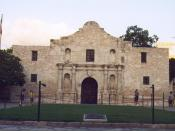 The Alamo Mission in San Antonio located at 29.4257° -98.4863°, San Antonio, Texas, United States. The structure was added to the National Register of Historic Places in 1966.