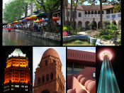 English: From top to bottom and Left to Right: 1. San Antonio downtown from the Tower of The Americas at night. 2. The Riverwalk 3. The McNay Museum of Art 4. The Tower Life Building 5. Bexar County courthouse 6. San Antonio Public Library 7. The Tower of