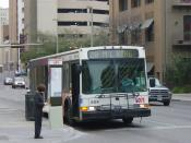 English: A VIA city bus stopped at a San Antonio intersection Category:Images of San Antonio, Texas