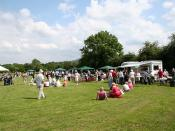 English: Defford Fete The good weather allows the visitors to sit out on the grass to consume their tea and cake or just listen to the band.