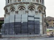English: Leaning tower of Pisa - lead counterweights Deutsch: Schiefer Turm von Pisa - Bleigewichte zur Reduzierung der Neigung Italiano: Torre pendente di Pisa - contrappesi di piombo