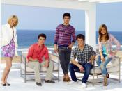 The Jonas L.A. cast photo From left to right: Chelsea Staub as Stella Malone, Kevin Jonas as Kevin Lucas, Joe Jonas as Joe Lucas, Nick Jonas as Nick Lucas, and Nicole Anderson as Macy Misa.