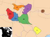 Apachean tribes ca. 18th century (Ch – Chiricahua, WA – Western Apache, N – Navajo, M – Mescalero, J – Jicarilla, L – Lipan, Pl – Plains Apache