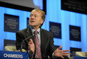 DAVOS/SWITZERLAND, 30JAN10 - John T. Chambers, Chairman and Chief Executive Officer, Cisco, USA captured during the session 'Rebuilding Education for the 21st Century' at the congress centre at the Annual Meeting 2010 of the World Economic Forum in Davos,