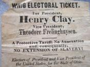 English: 1844 handbill for Henry Clay, Whig party candidate in the US presidential election. Since it's from a Northern state (Ohio), it plays up the Whig party's anti-Texas-annexation stand as being equivalent to anti-slavery-extension. Equivalent Whig c