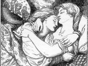 Rossetti was interested in figures locked in embrace; cf. the embracing figures at the bottom of the Mystical Nativity