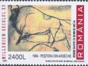 English: 1966 Romanian Post; 2400 Leu; multicolored; representing Steppe Wisent - Bison priscus - Chauvet Cave Cave painting; Series - Millenium; Design - Oleg Cojocaru and Mihail Gologan