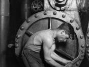 Lewis Hine Power house mechanic working on steam pump. (1920)