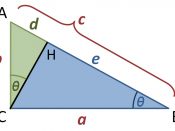 English: Similar triangles for Pythagoras' theorem