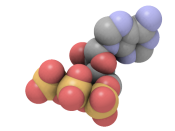 SpaceFill representation of Adenosine triphosphate. Done using the real time open source QuteMol system.