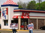 protestors outside a KFC restaurant in Royal Oak, MI, May 5, 2007