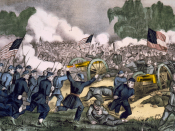 The battle of Gettysburg, Pa. July 3d. 1863, depicting the Battle of Gettysburg, fought July 1—3, 1863. The battle was part of the American Civil War and was won by the North. Hand-colored lithograph by Currier and Ives. Español: Batalla de Gettysburg Mag