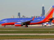 English: A Southwest Airlines Boeing 737-700 taxiing at Chicago Midway International Airport. Southwest is the dominant carrier at Midway, operating more than 225 daily flights out of 29 of Midway's 43 gates to over 45 destinations across the United State