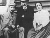 English: Russian composer Petr Tchaikovsky and opera singers Medeya and Nikolai Figner