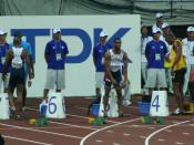 World Athletics Championships 2007 in Osaka - the participants of the Men's 100 metres final preparing for the race