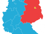 Map showing the division of East and West Germany, with West Berlin in yellow.