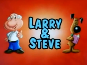 Larry (left) and Steve (right) as they appeared in Larry & Steve (1997), an animated short directed by Seth MacFarlane. Larry and Steve would form the basis for the Family Guy characters of Peter and Brian, respectively.