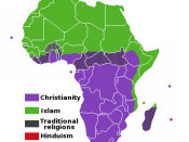 A map of the Africa, showing the major religions distributed as of today. Map shows only the religion as a whole excluding denominations or sects of the religions, and is colored by how the religions are distributed not by main religion of country etc.
