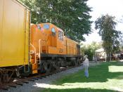 Kennecott Copper Corporation locomotive 201 on display at Snoqualmie Depot, Snoqualmie, Washington, USA. Built 1951 by ALCO, this is a model RSD-4 diesel-electric locomotive: a 12-cylinder diesel engine drives an electric generator.