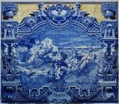 English: Panel of glazed tiles by Jorge Colaço (1922), representing Henry the Navigator at the Sagres Promonory. Lisbon, Pavilhão Carlos Lopes. Français : Panneau d'azulejos créé par Jorge Colaço en 1922 et représentant Henri le Navigateur sur le promonto