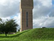 English: Brick-built water tower in Kimberley, Nottinghamshire, UK