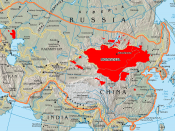 This map shows the boundary of 13th century Mongol Empire compared to today's Mongols.
