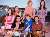 The main cast of Two and a Half Men (seasons 1–4), from left to right: Melanie Lynskey as Rose, Conchata Ferrell as Berta, Charlie Sheen as Charlie Harper, Holland Taylor as Evelyn Harper, Angus T. Jones as Jake Harper, Jon Cryer as Alan Harper, and Marin
