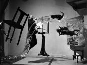 The Dali Atomicus, photo by Philippe Halsman (1948), shown before its supporting wires were removed.