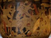 Mnêstêrophonía: slaughter of the suitors by Odysseus, Telemachus and Eumeus (right). Side A from a Campanian (Capouan?) red-figure bell-krater, ca. 330 BC.