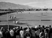 Ansel Adams: Baseball game at Manzanar War Relocation Center, Owens Valley, California, 1943. Seventh in a series of pictures from Ansel Adams' stay at the Japanese-American relocation camp in 1943.