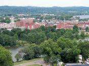 Downtown Marietta, Ohio, as viewed from Harmar Hill, including the Muskingum River (foreground) and the Ohio River (background right)