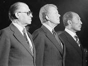 Menachem Begin, Jimmy Carter und Anwar Sadat in Camp David
