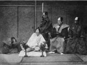 Seppuku with ritual attire and second (staged).