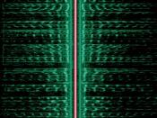 The signal of an AM radio station on the MW band. Time runs from up to down, frequency from left to right. The strong vertical line in the center, colored red, is the carrier wave at 558 kHz; the two mirrored audio spectra (green) are the lower and upper