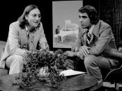 Publicity photo of John Lennon and host Tom Snyder from the television program Tomorrow. Done in 1975, this was the last television interview Lennon gave before his life ended in 1980.