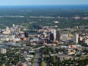 English: An aerial image of the city of Rochester, New York.