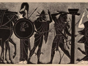 In this vase painting, Heracles leads a two-headed Cerberus out of Hades.