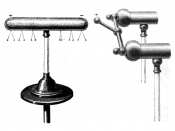 Demonstration of induction, in 1870s. The positive terminal of an electrostatic machine is placed near the brass cylinder, causing the left side to acquire a positive charge and the right to acquire a negative charge. The small pith ball electroscopes han